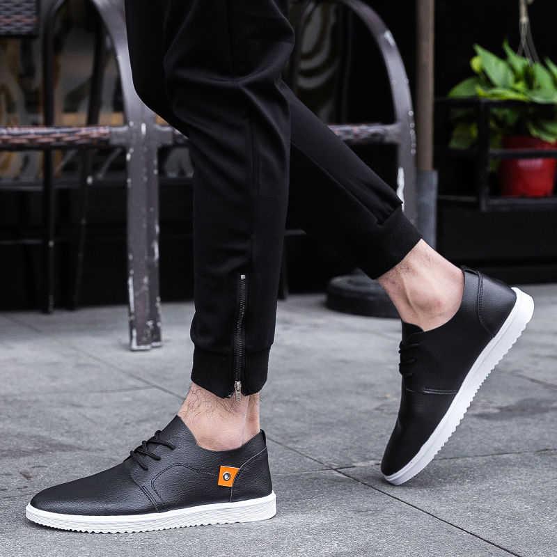 עור אמיתי גברים נעליים יומיומיות לנשימה עמיד למים החלקה גברים סניקרס קיץ אופנה נוח גדול גודל שמלת נעליים