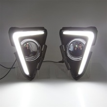 Car Flashing led drl daytime running light  For 17-18year Toyota RAV4  Day Lights fog lamp hole cover function Signal light 2pcs free shipping new arrival led drl daytime running light fog lamp for car specific 2014 toyota rav4