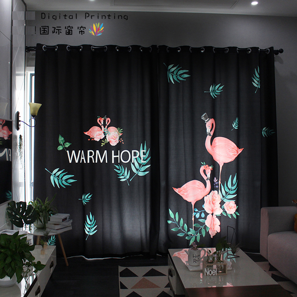 Personal Tailor 2x Window Drapery Living Room Curtain Window Dressing Covering Tulle 200cm X 260cm Flamingo Leaves Black