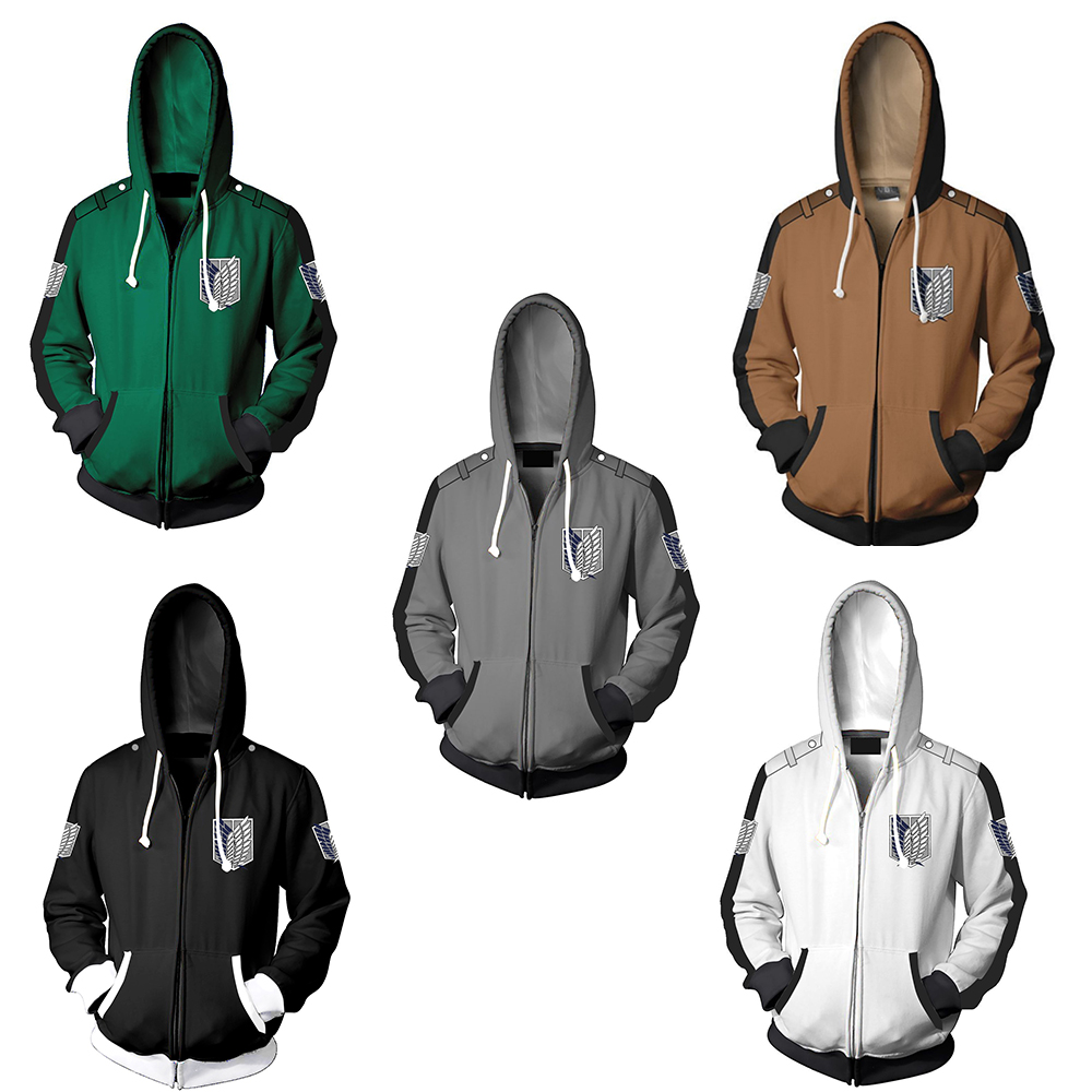 CostumeBuy Japanese Attack On Titan Plus Size Hoodie Jacket Shingeki no Kyojin Legion Eren Sweatshirts Zipper Hoodies Coat L920
