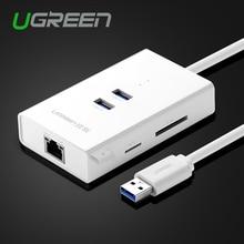 Ugreen Высокоскоростной 2 Порта USB 3.0 КОНЦЕНТРАТОР с TF/SD Card читатель RJ45 Gigabit Ethernet Lan Проводной Сетевой Адаптер для Window Mac