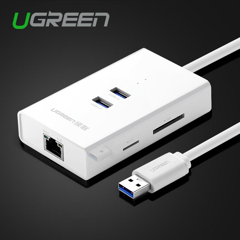 Prix pour Ugreen Haute Vitesse 2 Ports USB 3.0 HUB avec TF/SD Carte lecteur à RJ45 Gigabit Ethernet Lan Filaire Réseau Adaptateur pour Fenêtre Mac