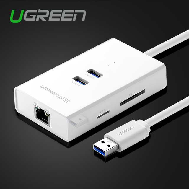 Ugreen de alta velocidad de 2 puertos usb 3.0 hub con tarjeta tf/sd lector a RJ45 Gigabit Ethernet Lan Adaptador de Red Cableada para Ventana Mac