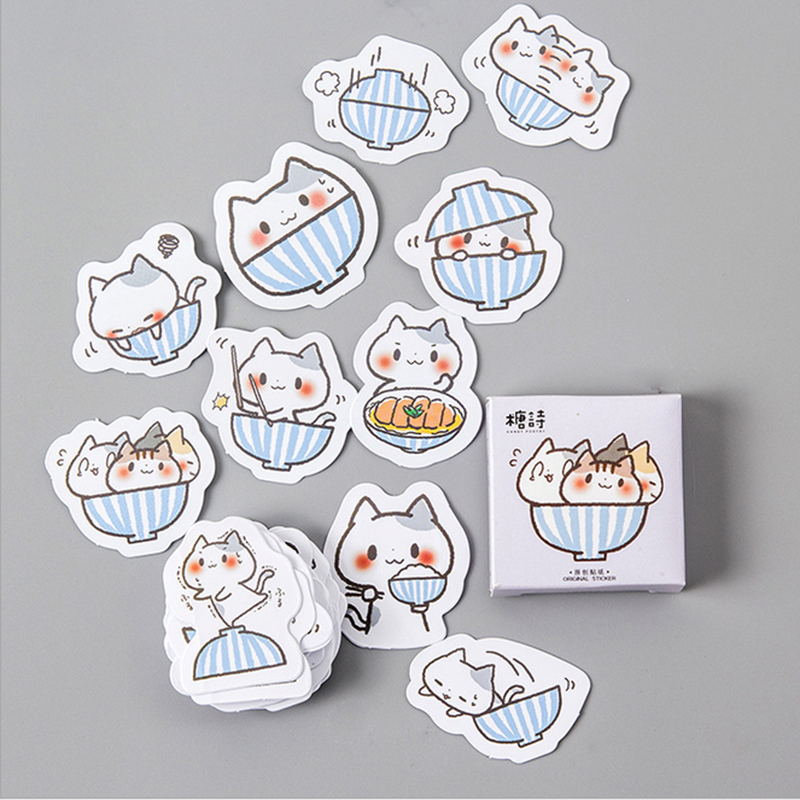 Купить с кэшбэком 45PCS/lot  Beautiful cat sticker DIY hand gift bag sealing kawaii decoration adhesive tape Diary stationery Free shipping