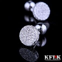 Kflk jóias camisa abotoaduras para homens marca de moda cristal manguito link botão atacado prata alta qualidade casamento frete grátis