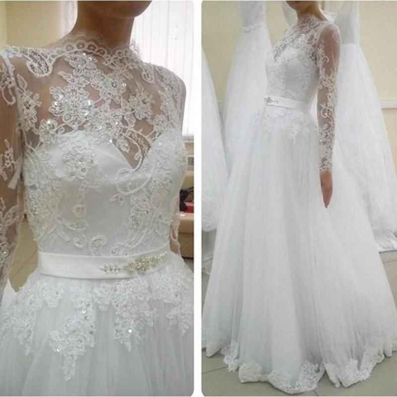 טול ארוך שרוול תחרה חתונה שמלות סקסי נסיכת כלה שמלת חתונת שמלת Vestido דה Noiva 2021 ערבית Robe de Mariage