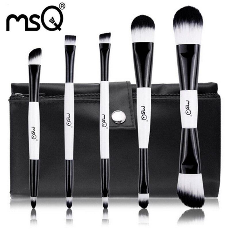 New Hot Sale 5pcs Makeup Brushes Set Double End Foundation Blusher Eyeshadow Cosmetic Make Up Brush kit Synthetic Hair Canvas