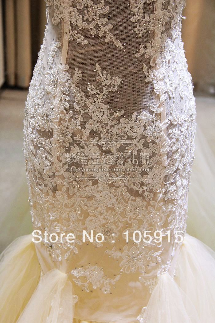 aliexpresscom buy free shipping real sample see through corset lace beads with long train mermaid wedding dresses bridal gowns organza vc 73 from