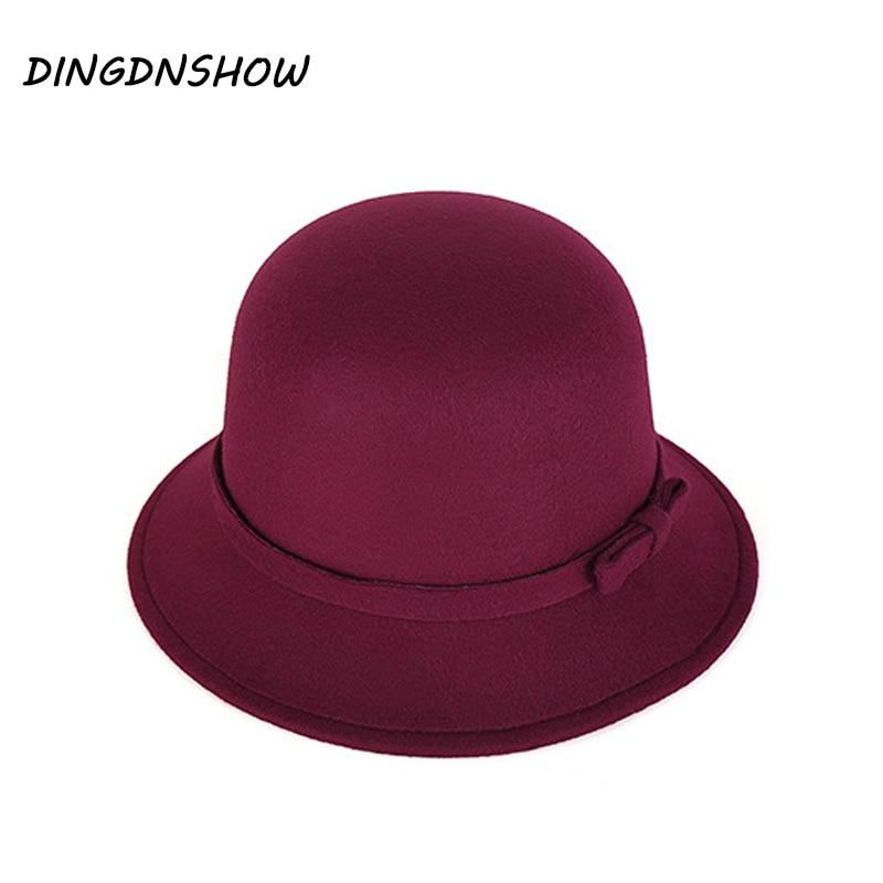 [DINGDNSHOW] 2018 Marcă Fedora Hat Vintage Lână Kid Felt Bowler - Accesorii pentru haine