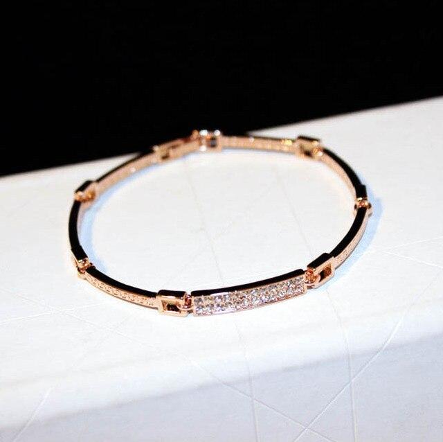 Новый бижутерии модные женские туфли баре Crystal браслет Браслеты Настоящее розовое золото Красивые ювелирные изделия оптовая продажа Для женщин подарок