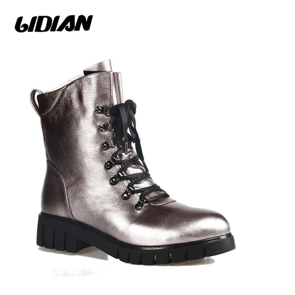 LIDIAN Winter Genuine Leather handmade Motorcycle boots Pure wool - Women's Shoes
