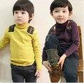 2016 de inverno das crianças roupas meninos t-shirt de manga longa gola alta engrossar fleece baby boy t-shirt bordada com capuz para meninos crianças topos