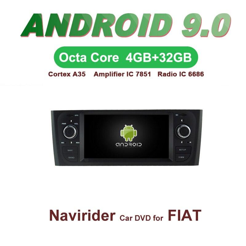 Voiture ELANMEY gps navigation pour FIAT PUNTO Linea noir 8 core android 9.0 ecran tactile voiture DVD multimédia radio bluetooth headunit