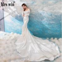 Wedding Dress 2018 New The Mrs Win Full Sleeve Elegant Boat Neck Luxury Lace Long Royal Train Mermaid Gown Princess Dresses F