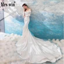 Wedding Dress 2018 New The Mrs Win Full Sleeve Elegant Boat Neck Luxury  Lace Long Royal Train Mermaid Gown Princess Dresses F 214c4e335293