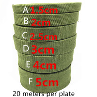 100% Verde Do Exército espessamento algodão mochila canvas webbing cinta da bagagem rolo de fita de tecido de algodão 20 metros por placa