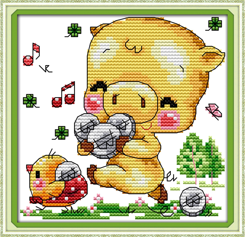 Music pig, counted printed on fabric DMC 14CT 11CT Cross Stitch kits,embroidery needlework Sets, Home Decor