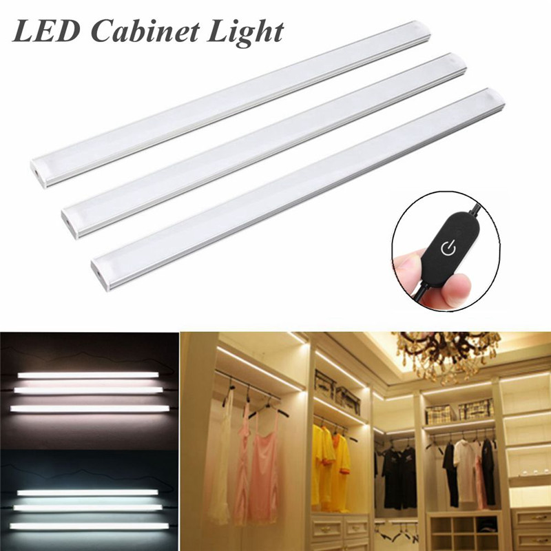 CLAITE 3Pcs 30CM LED Under Cabinet Light Control Dimmable Warm White /White Wardrobe Cupboard Night Light tw l08 white night light