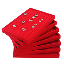 35*24*3cm Red Velvet Ring Earring Necklace Jewelry Insert Display Organizer Box Fine Tray Showcase Holder jewellery box Big Size недорого