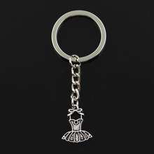 Fashion 30mm Key Ring Metal Key Chain Keychain Jewelry Antique Silver Plated ballet tutu dress skirt 20*16mm Pendant(China)