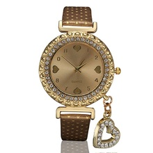 Fashion Women Quartz Wrist Watch with Heart Pandent Faux Leather Crystal Dial smt 89