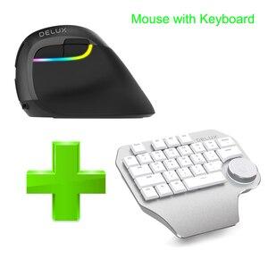 Image 5 - Delux T11 מעצב אחת יד ארגונומי מקלדת + משטח חיוג + M618 מיני אלחוטי Bluetooth אנכי עכבר קומבו עבור מחשב נייד