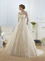 Vestido De Noiva 2018 Elegant High Neckline A Line Long Sleeve Weddings Lace appliques Bridal Gown Mother of the Bride Dresses
