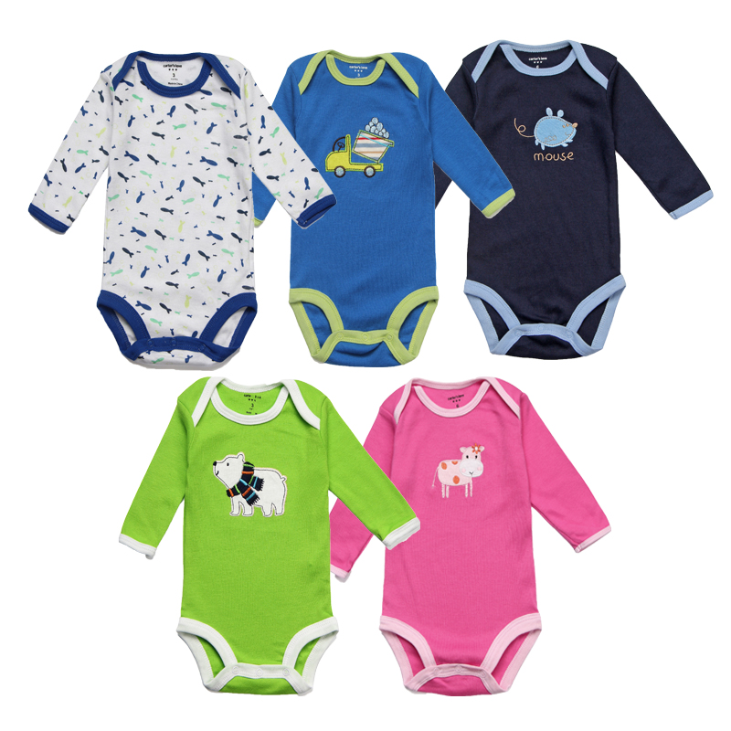 5 pcs/lot Spring Baby Bodysuits Cotton Infant Baby Girls Clothing Long Sleeve Newborn Baby Clothes Boys Roupa Infant Jumpsuits