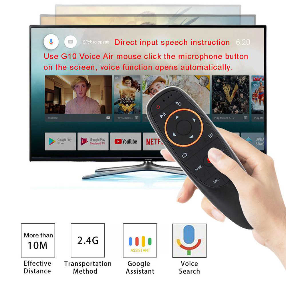 G10 Google Voice Afstandsbediening 2.4g Draadloze Air Mouse Microfoon Gyroscoop IR Leren voor Android TV Box T9 H96 max X96 mini