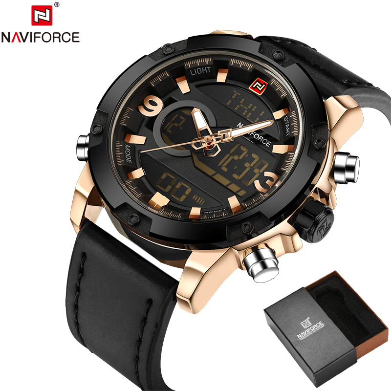 NAVIFORCE Original Luxury Brand Leather Quartz Watch Men Clock Digital LED Army Military Sport Wristwatch relogio masculino