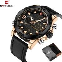 NAVIFORCE Original Luxury Brand Leather Quartz Watch Men Clock Digital LED Army Military Sport Wristwatch Relogio