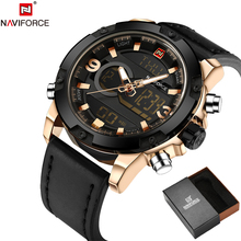 NAVIFORCE Ursprüngliche Luxury Brand Leder Quarzuhr Männer Uhr Digital LED Army Military Sport Armbanduhr relogio masculino