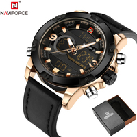 NAVIFORCE Original Luxury Brand Leather Quartz Watch Men Clock Digital LED Army Military Sport Wristwatch Relogio