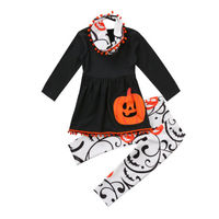Halloween Baby Girls pumpkin T-shirt Tops + Pants + Scarf Outfits Set Clothes Kids Outfits 2-7 years
