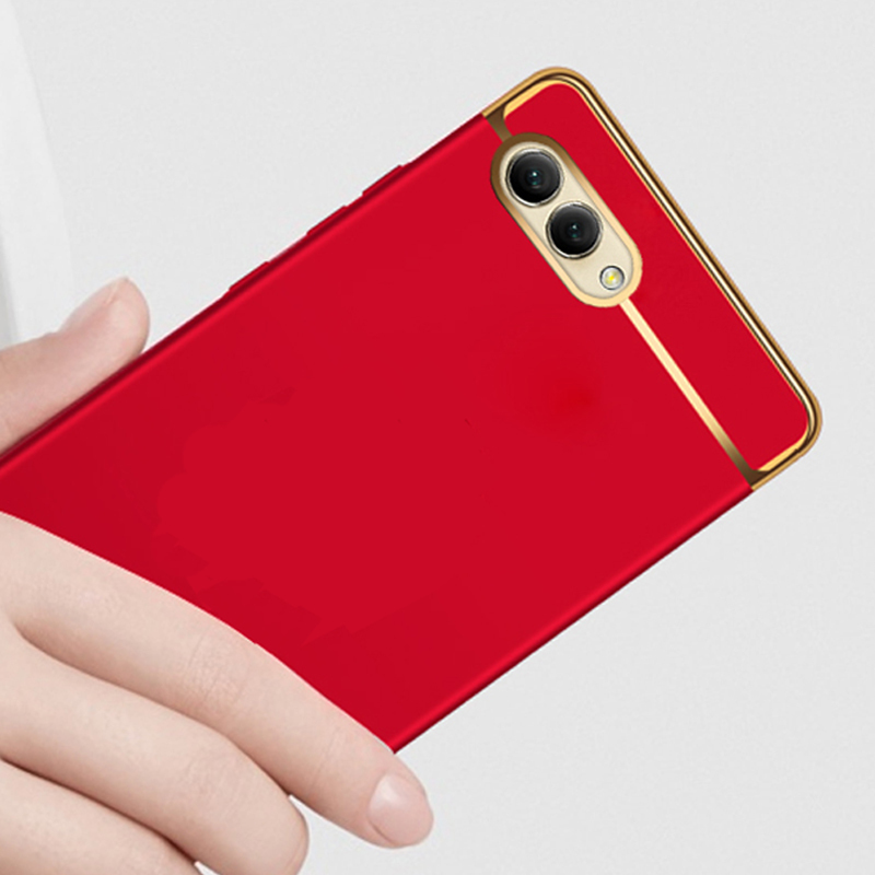 luxury hard plastic phone back etui coque cover case for huawei honor v10 view 10 view10 v 10 red accessories 3 in 1 in Half wrapped Cases from Cellphones Telecommunications