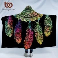 BeddingOutlet Bohemian Hooded Blanket for Adults Mandala Dreamcatcher Sherpa Fleece Woman Throw Blanket Microfiber 127cmx152cm