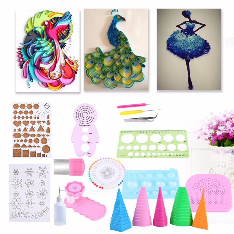 Image 2 - Hot 19Pcs DIY Paper Quilling Handmade Tools Set Template Tweezer Pins Slotted Tool Kit Paper Card Crafts Decorating Tools-in Craft Paper from Home & Garden