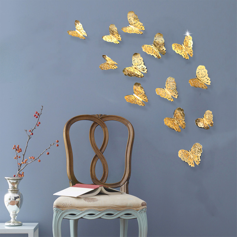 Guld / Silver 3D Fjärilar Wall Stickers Dekaler Hollow Flower Leaves Hängande Hem Affisch Kids Rooms Party Wedding Decoration