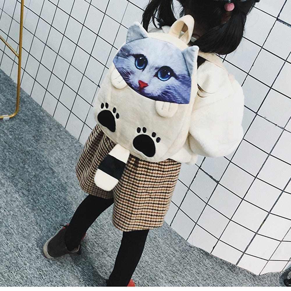 OCARDIAN сумка для мальчиков и девочек, рюкзак с мультяшным котом, милая детская школьная сумка, школьный мини велюровый рюкзак на молнии, Прямая поставка, mar26