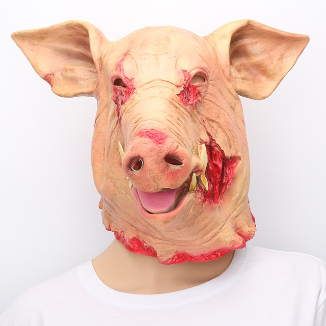 Halloween Pig Head Mask Animal face mask Cosplay Costume electric saw pig Latex Mask horror blood & Halloween Pig Head Mask Animal face mask Cosplay Costume electric ...