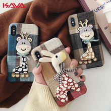 Winter Warm Cloth Fabric deer horse Plush Phone Case Simple Plaid Soft Tpu Case for Iphone 7 6 6s 8 plus X XR XS MAX Back Cover marvel glass iphone case