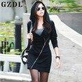 GZDL Осень Новый Толстовка Dress Для женская Мода Твердые Slant Молния Дизайн Толстовка Повседневная С Длинным Капюшоном Sheatshirt Dress CL2397