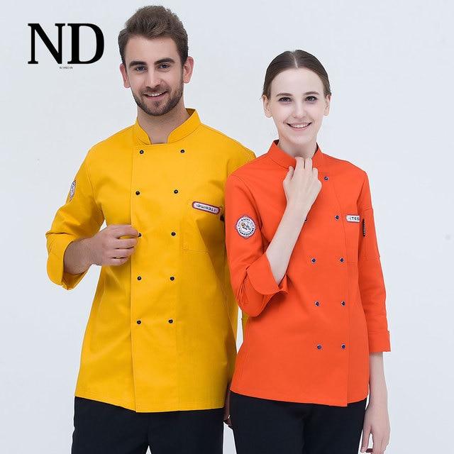 7 Colori Albergo Chef Uniforme Doppio Petto Cappotto A Maniche Lunghe Giacca  Cuoco Ristorante Cameriere Vestiti 7184fb0740e0