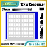 O condensador da caixa da u-forma 12kw combina com os compressores do condicionador de ar 9.4m3/h ou 4hp em condicionadores de ar da bomba de calor 3-em-1