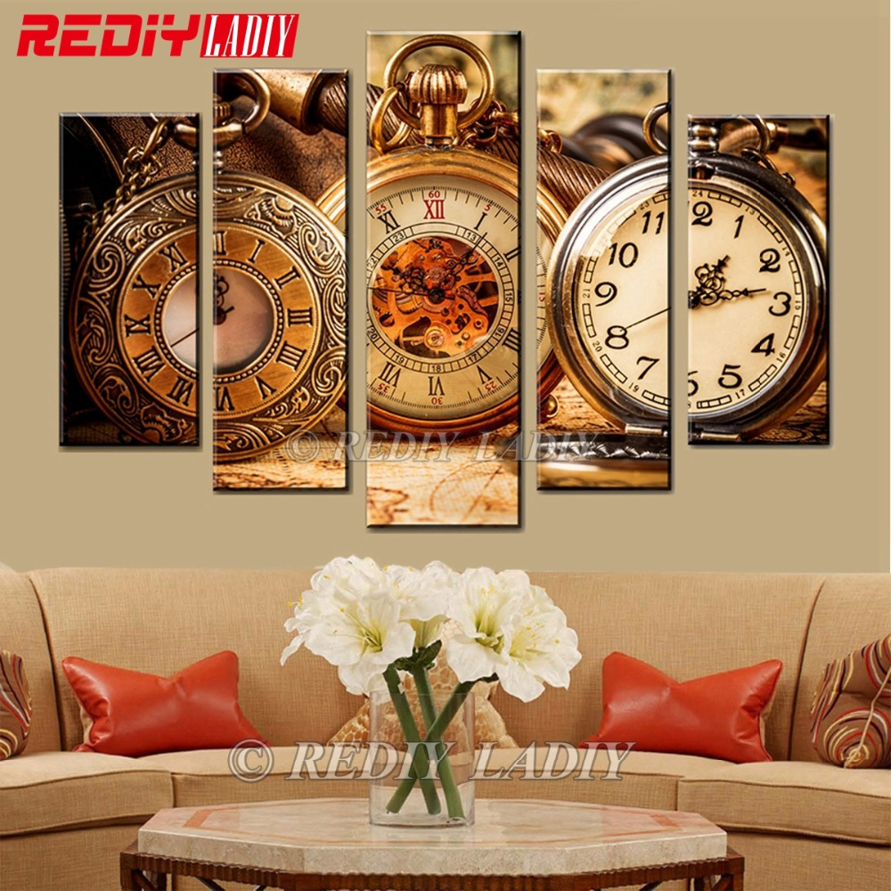 Diamond Painting Triptych Diamond Embroidery Still Life Clocks 5 Panels Modular Picture Wall Art Rhinestones Cross