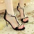 Mulher Sapatas do Verão 2016 Sandálias Da Moda Sapatos De Salto Alto Preto Sandálias Gladiador Sexy T cinta-Laides Sapatos Sandalia Feminina de Festa