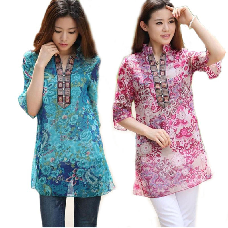 2018 Summer Women Shirt Blusa Fashion Chiffon Half Sleeve Floral Casual Top Plus size 5XL Bordado Mujer Túnica Blusas