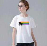 Kobiety moda Lato Nowość 80 s Vintage Rainbow Projekt T Shirt Unicorn Wydrukowano Tops Gorąca Sprzedaży Koszulek W860