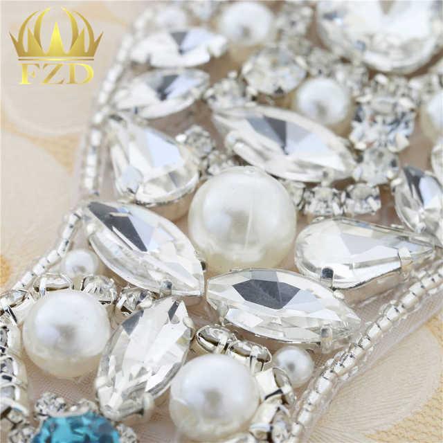 Wholesale Handmade Hot Fix Sewing on Pearls Beaded Bridal Sash Swarovski  Rhinestone Applique for Garments Wedding d48b88e48120