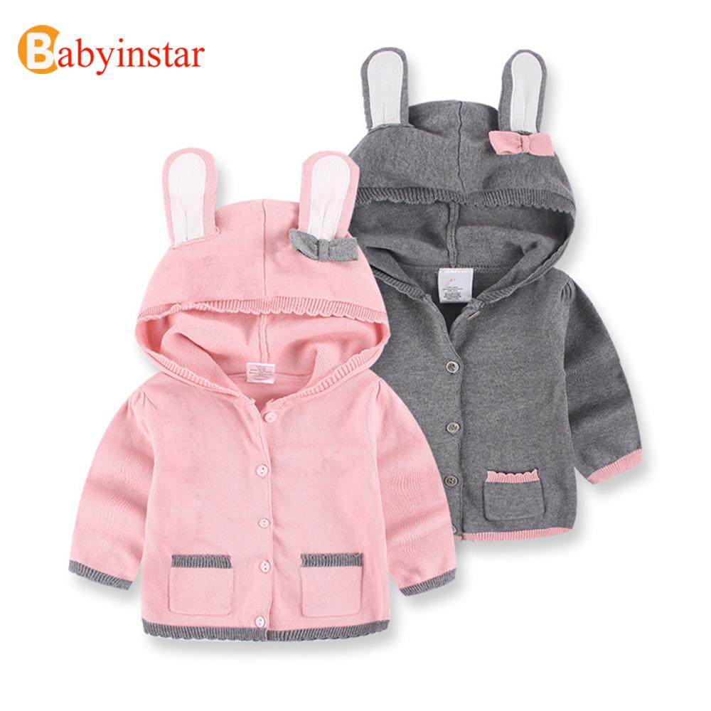 Cartoon Rabbit Ear Hooded Girls Sweater Bow Fashion Children Knit Coat Outerwear Autumn Apparel Casual Kids Sweaters
